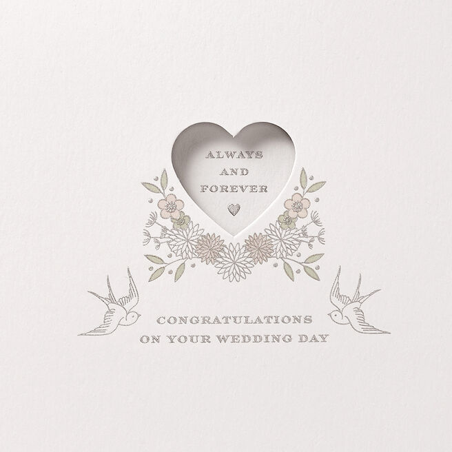 Always And Forever Wedding Card White
