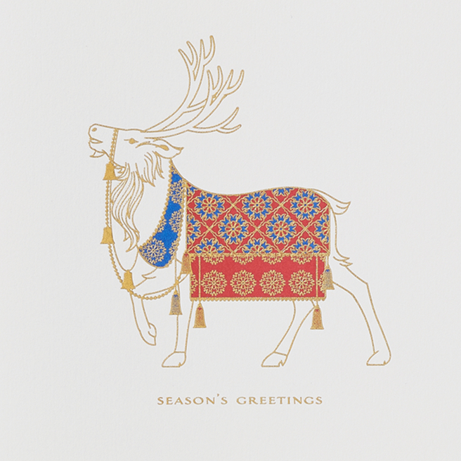 Nordic Stag Christmas Cards White
