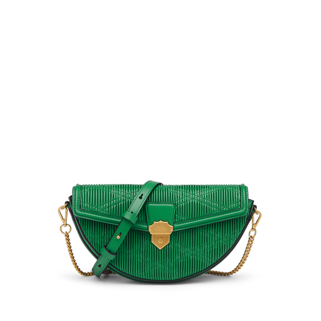 Quilted Plisse Envelope Semi Circle Crossbody Bag