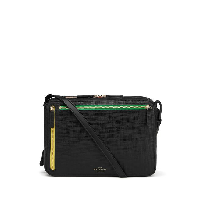 Sliding Strap Zip Crossbody Bag in Crossgrain Leather