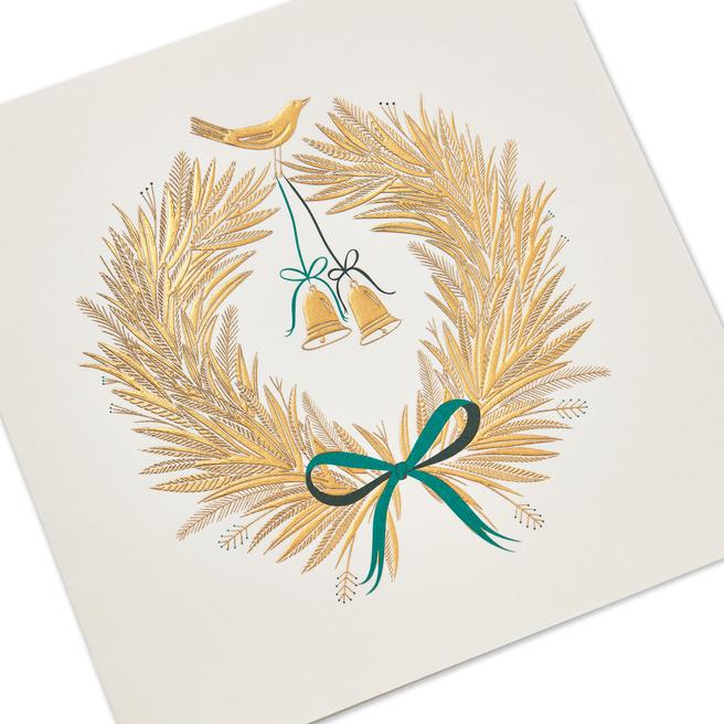 Golden Wreath Christmas Card