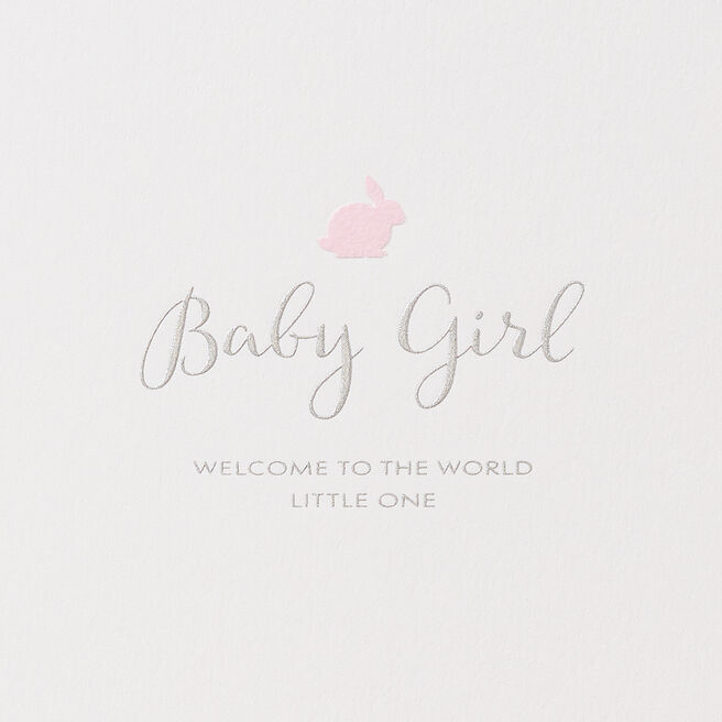 Baby Girl Rabbit Card White