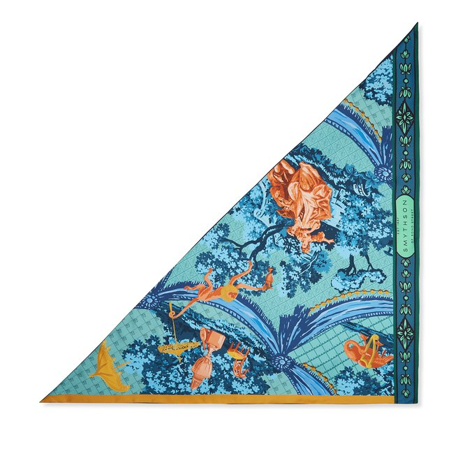 Lovers Print Silk Triangle Scarf