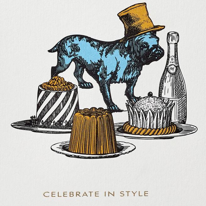 Champagne Bulldog Card