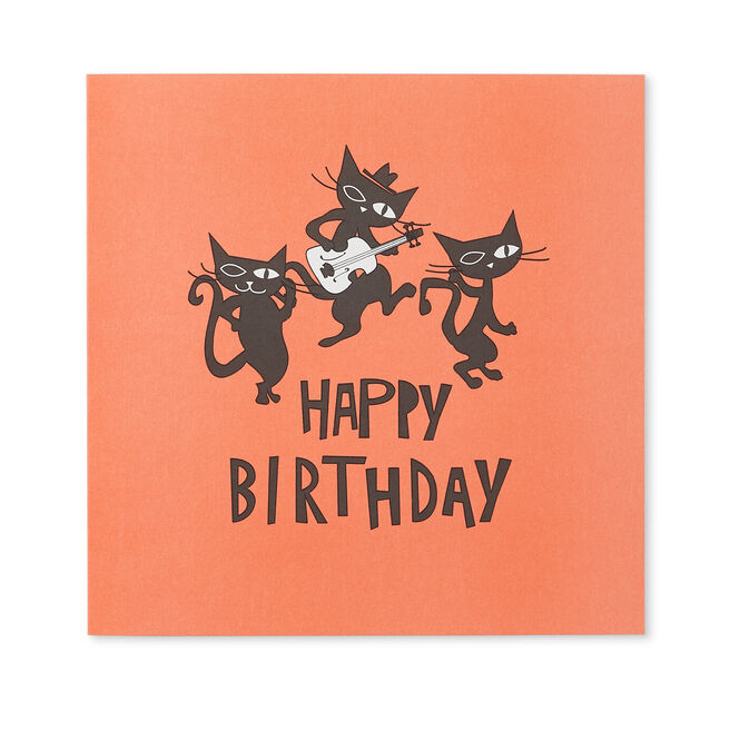 Cool Cats Birthday Card Red