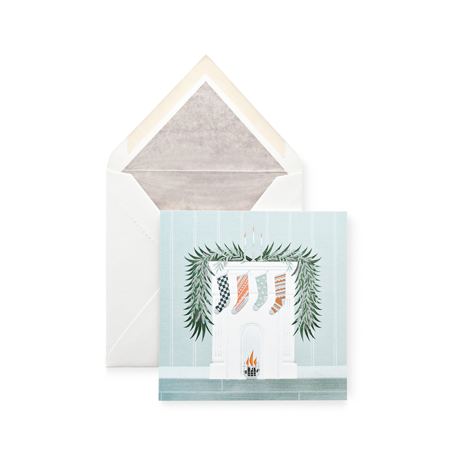 Fireplace With Stockings Christmas Card