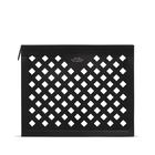 Paper Edge Zip Pouch in Perforated Leather