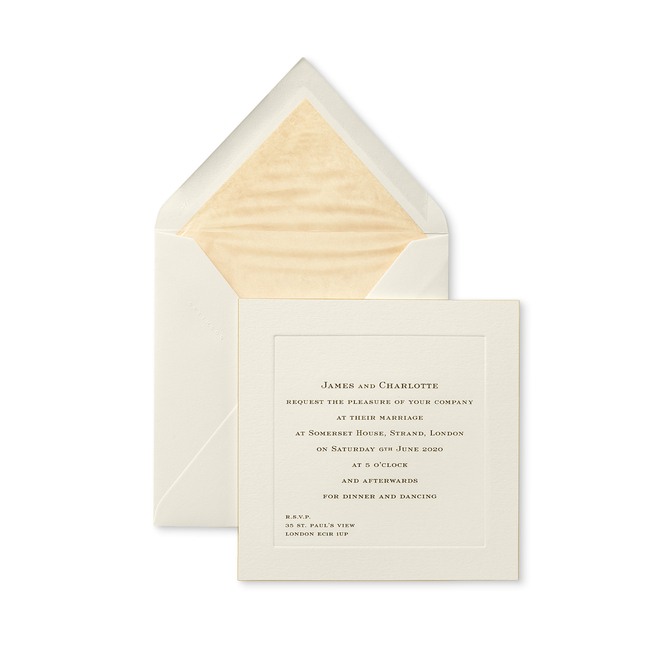 Square Wedding Invitation with Platemark