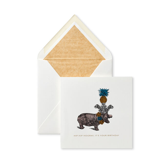 Hip Hip Hooray Hippo Card White