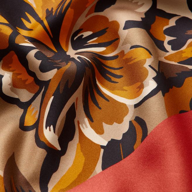 Floral Silk Triangle Scarf