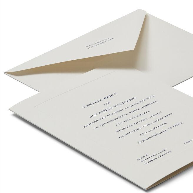 Portrait Folded Wedding Invitation with Platemark