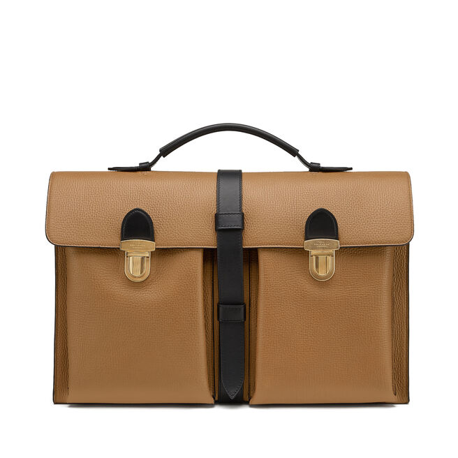 Satchel Messenger Bag in Large Grain Leather