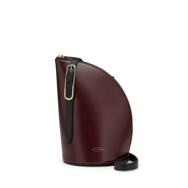 1/4 Moon Crossbody Bag in Box Calf Leather
