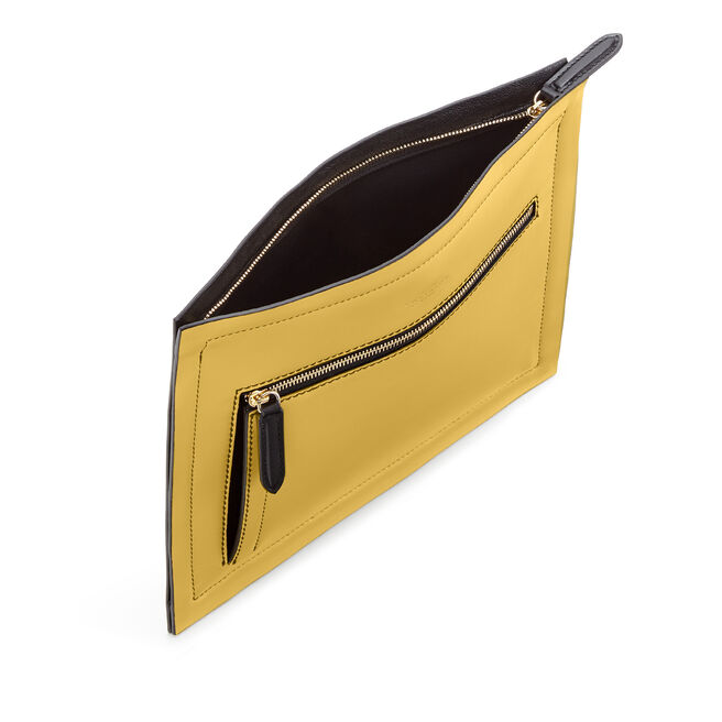 Paper Edge Zip Pouch in Smooth Leather