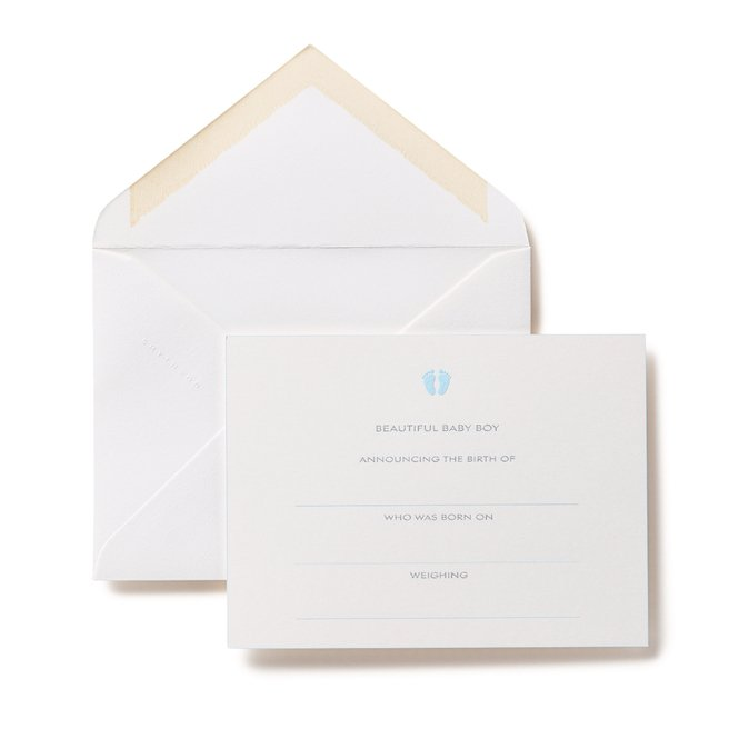 Baby Boy Announcement Cards White