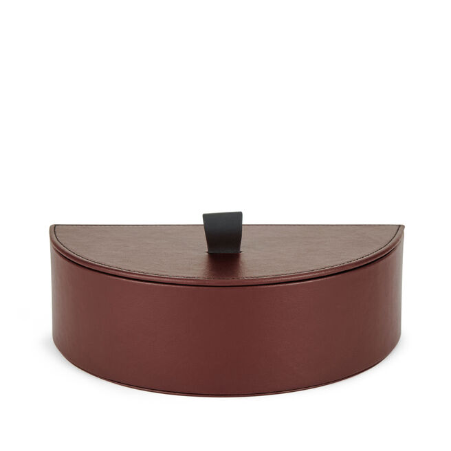 Semi Circle Box in Smooth Leather