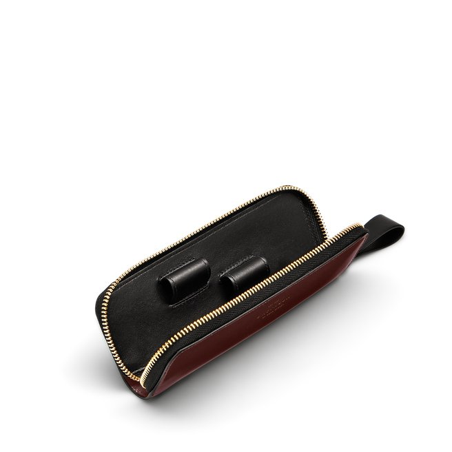 Double Pen Case in Box Calf Leather