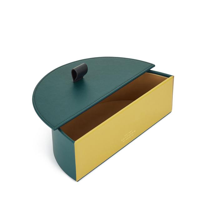 Semi Circle Box in Smooth Leather