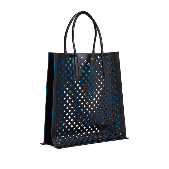 Maxi Paper Edge Tote in Perforated Leather