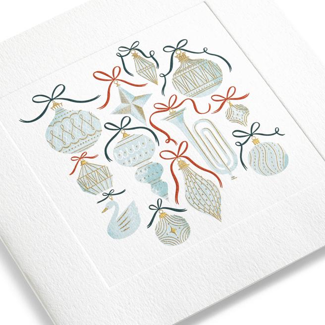 Baubles Christmas Card Set