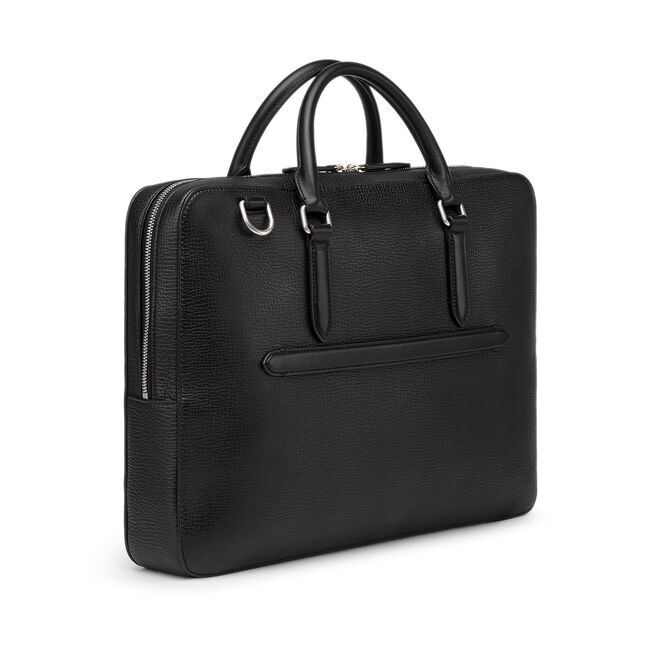 Briefcase with Zip Front in Large Grain Leather