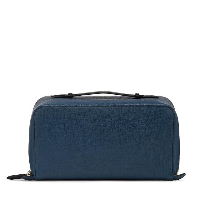Large Diagonal Zip Washbag in Large Grain Leather