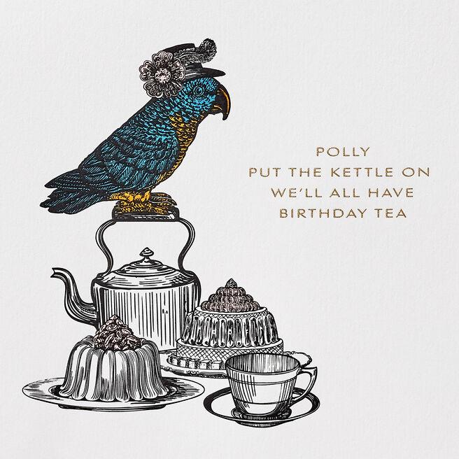 Polly Parrot Birthday Card White