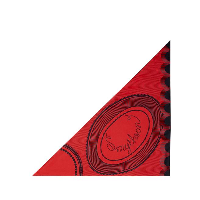Petit foulard triangulaire en soie avec logo tourbillonnant
