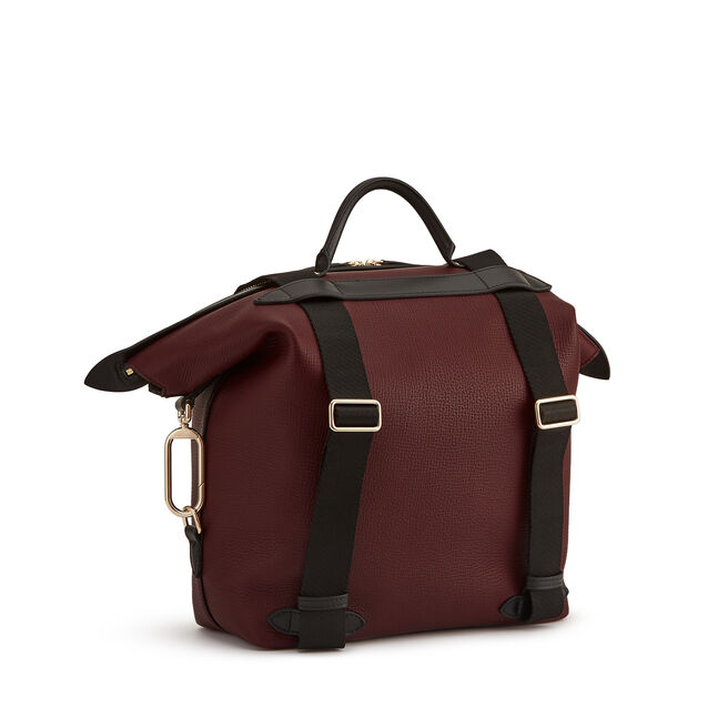 Small Clip Down Rucksack in Large Grain Leather