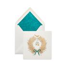 Golden Wreath Christmas Cards