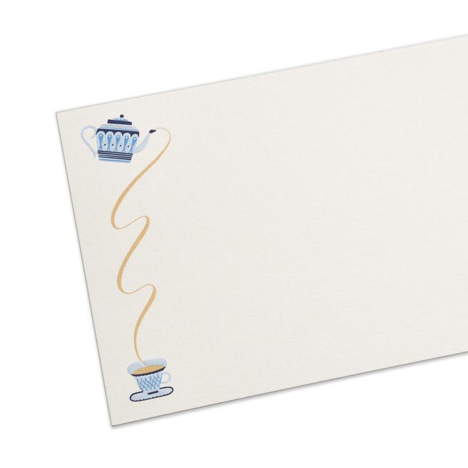 Biglietti di corrispondenza con teiera britannica