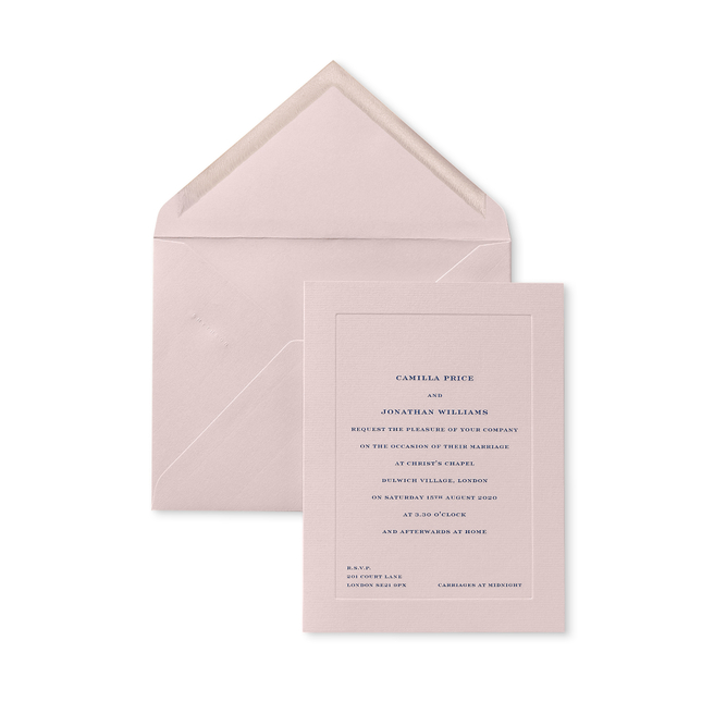 Portrait Folded Wedding Invitation with Platemark