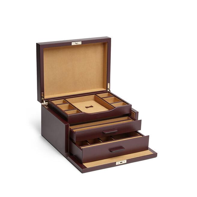 3 Drawer Jewellery Box in Box Calf Leather