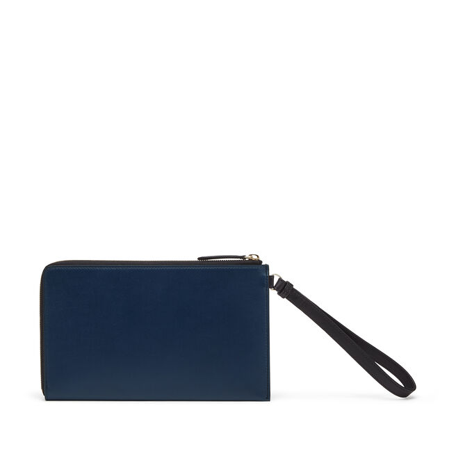 Pochette with Strap in Smooth Leather