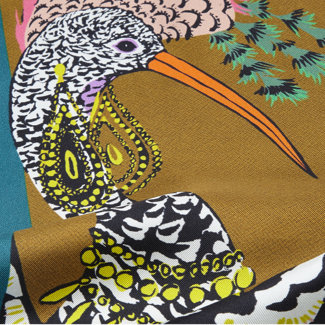 Bird Print Small Silk Triangle Scarf