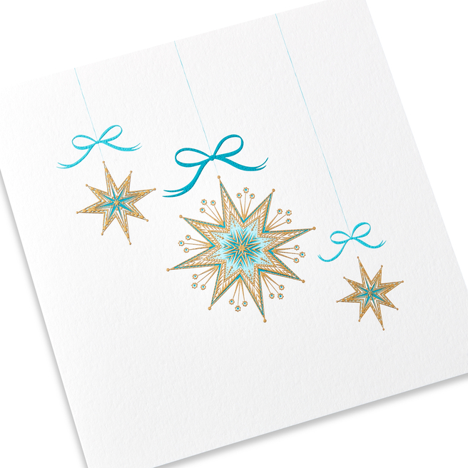 Golden Stars Christmas Card