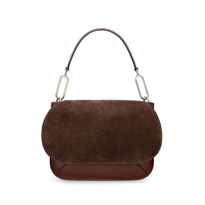 Concertina Top Handle Bag in Suede