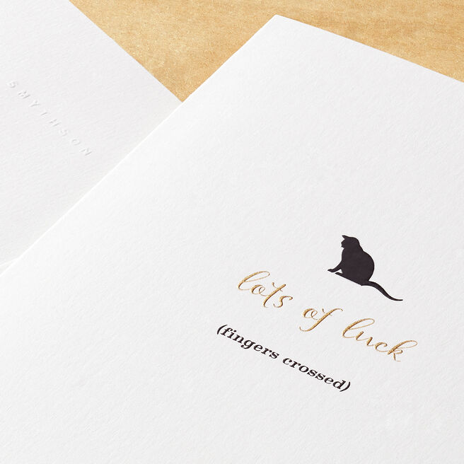 Good Luck Cat Card White