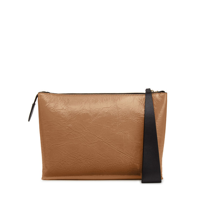 Large Pillow Pouch in Crinkled Patent Leather