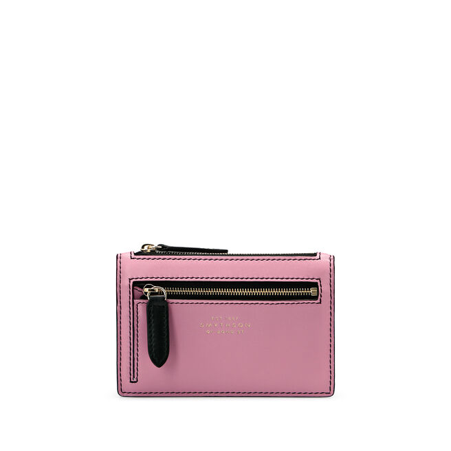 Small Double Zip Purse in Smooth Leather