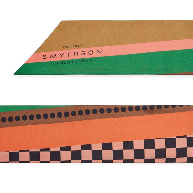 Chequer Print Silk Oblong Scarf