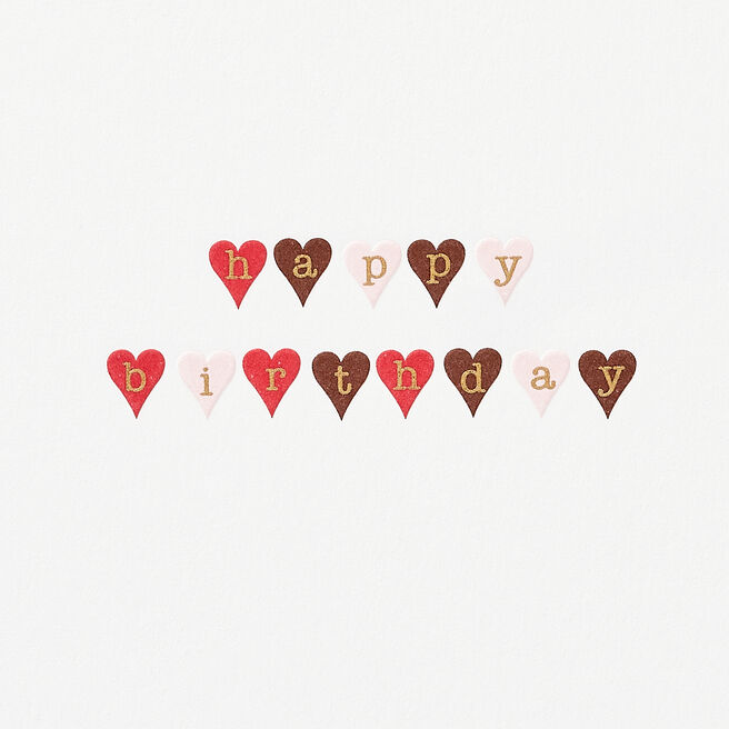 Little Hearts Birthday Card White