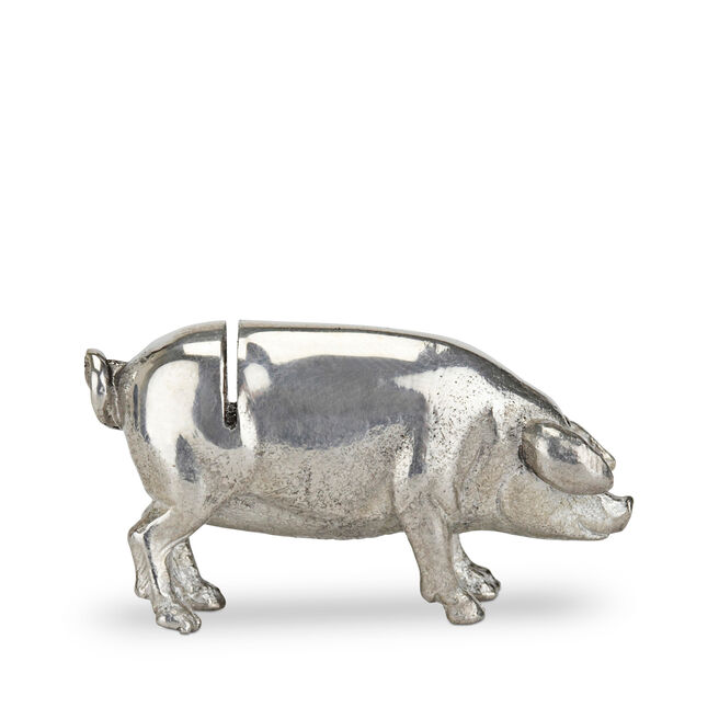 Pig Place Card Holder Silver