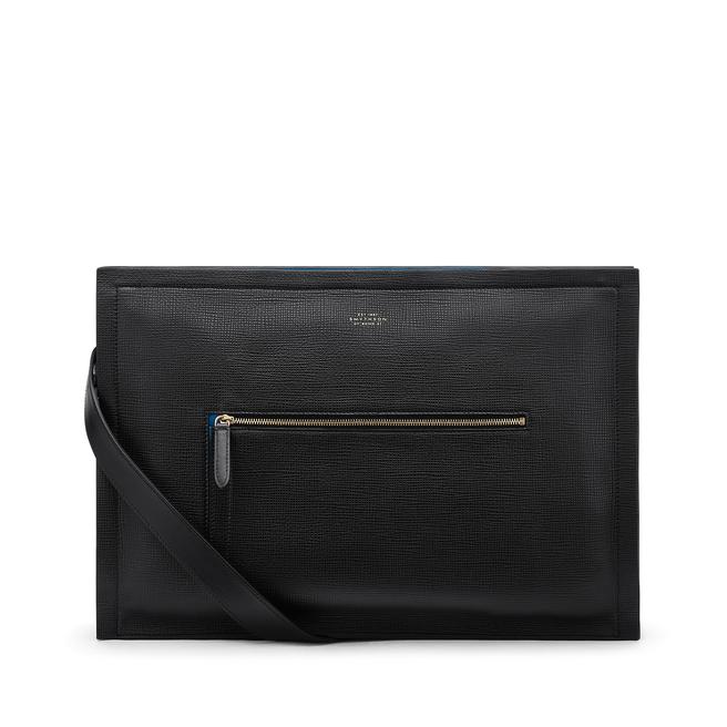 Zip Messenger Bag in Crossgrain Leather