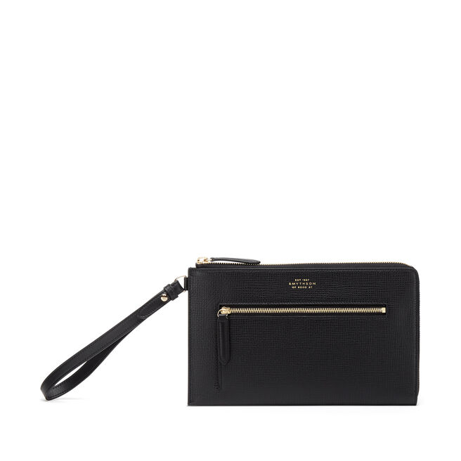 Pochette with Strap in Crossgrain Leather