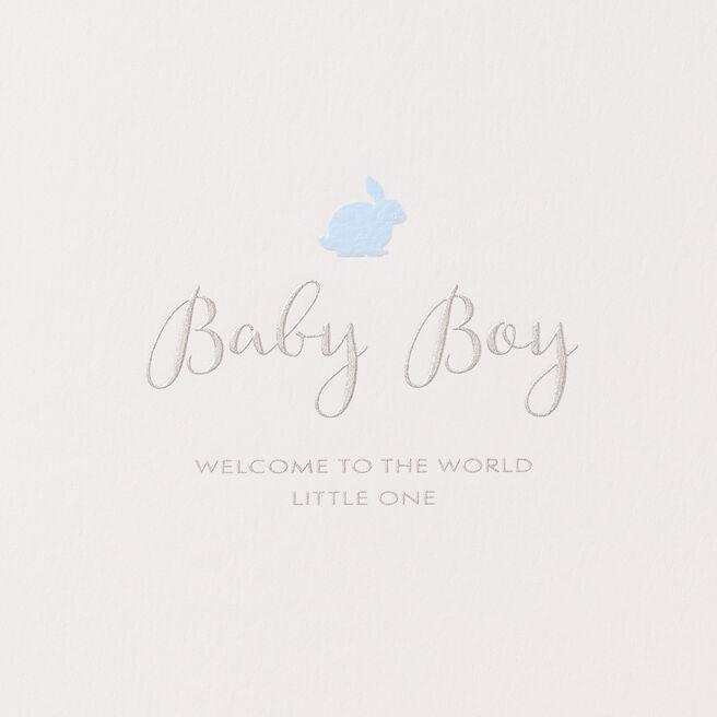 Baby Boy Rabbit Card White