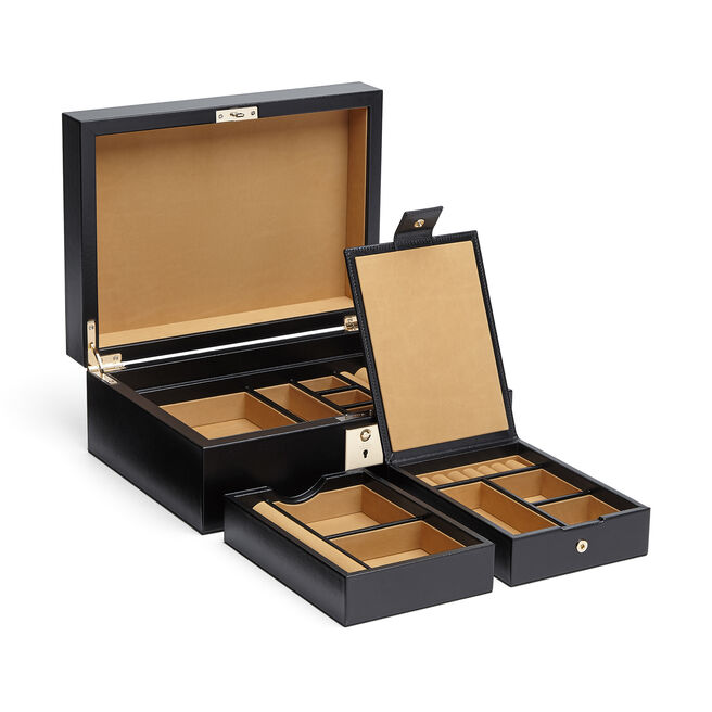 Jewellery Box with Travel Tray in Box Calf Leather