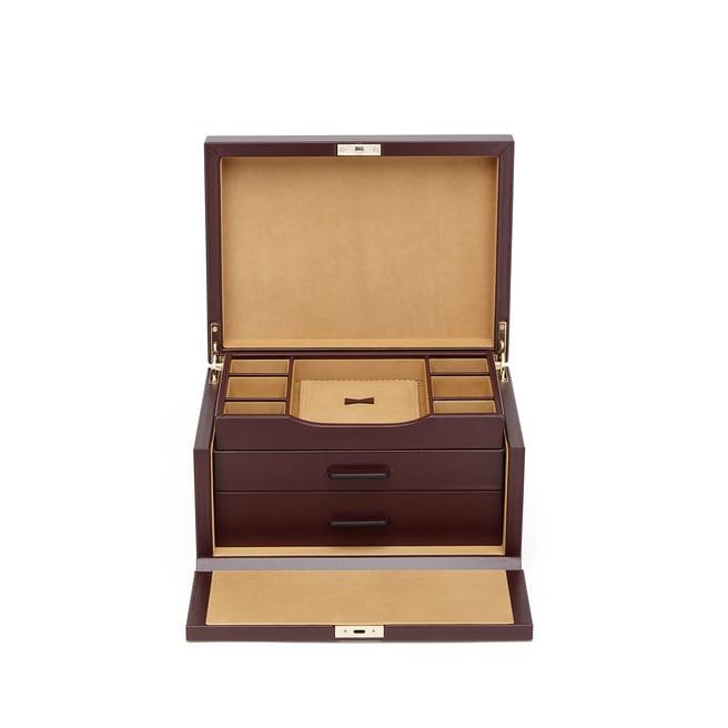 Boîte à bijoux à 3tiroirs en cuir de veau