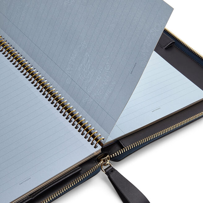 A5 Zip Writing Folder in Large Grain Leather