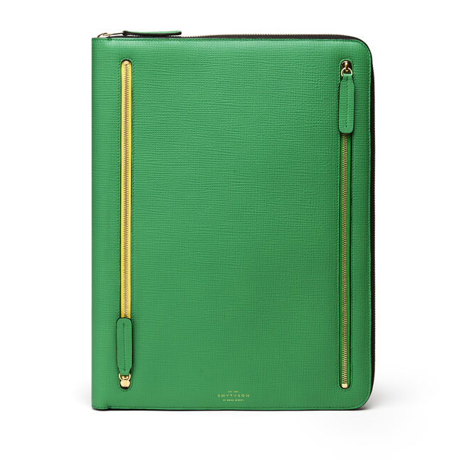 Large Zip Folio in Crossgrain Leather